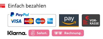 Einfach Bezahlen, mit Paypal, Amazon Pay, oder auf Rechnung